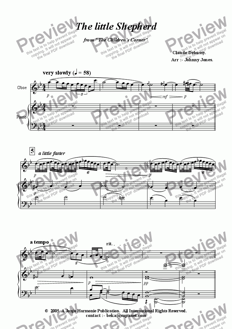 "page one of Little Shepherd The  (from ""Children's Corner Suite"".  Oboe and Piano)"