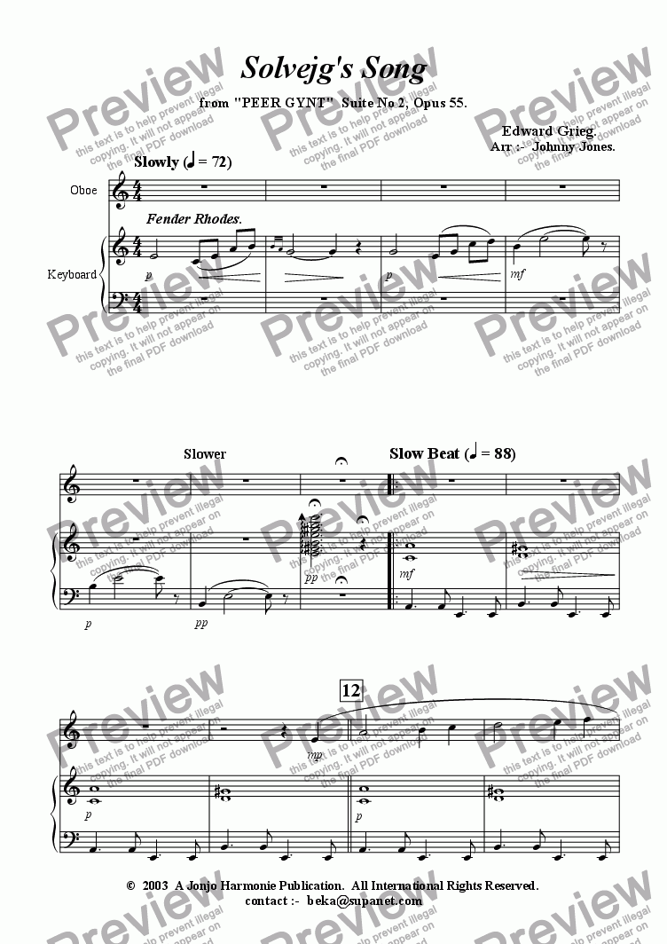 page one of Solveg's Song    ( Oboe and Piano, Slow Beat|)