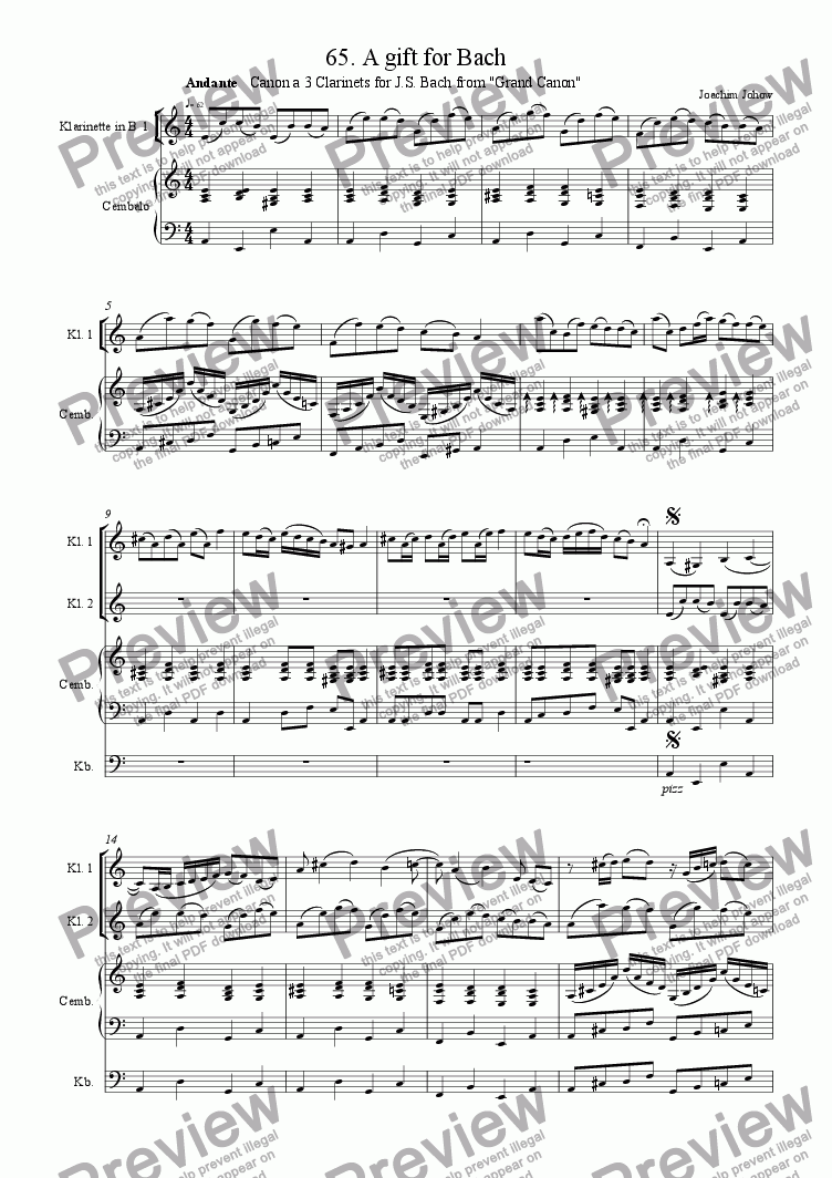 page one of Grand Canon 65 (A gift for Bach - 3 Clarinetts)