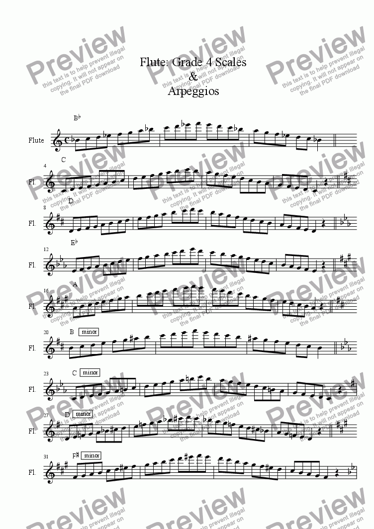 page one of Flute - Grade 4 Scales & Arpeggios( ABRSM format )