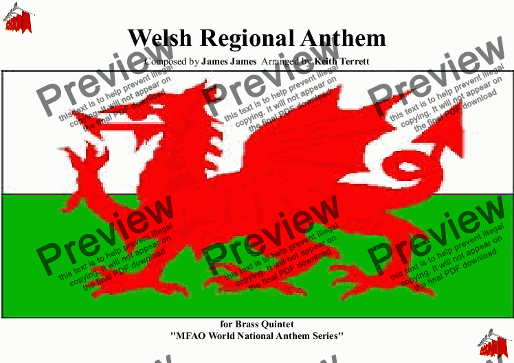 page one of Welsh Regional Anthem Anthem for Brass Quintet ''Land of my Father'' (MFAO World National Anthem Series)