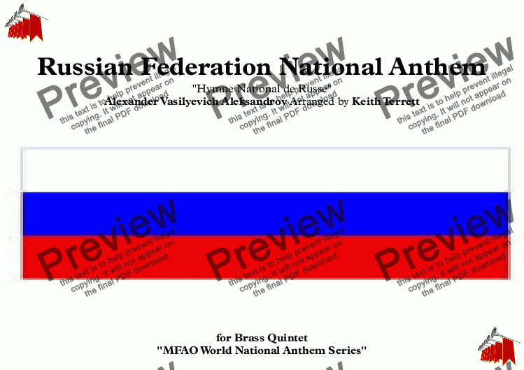 page one of Russian Federation National Anthem (Hymne National de Russe) for Brass Quintet (World National Anthem Series)