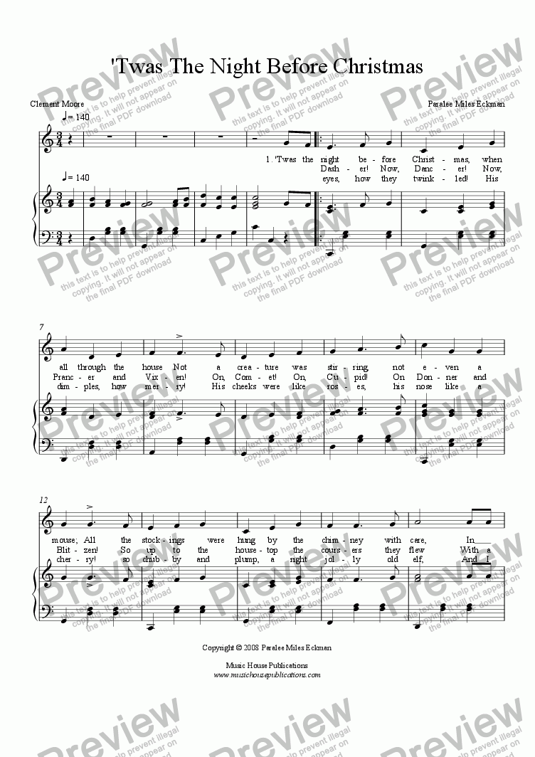 Christmas Music Sheets.Twas The Night Before Christmas Vocal Piano For Voice Keyboard By Paralee Miles Eckman Sheet Music Pdf File To Download