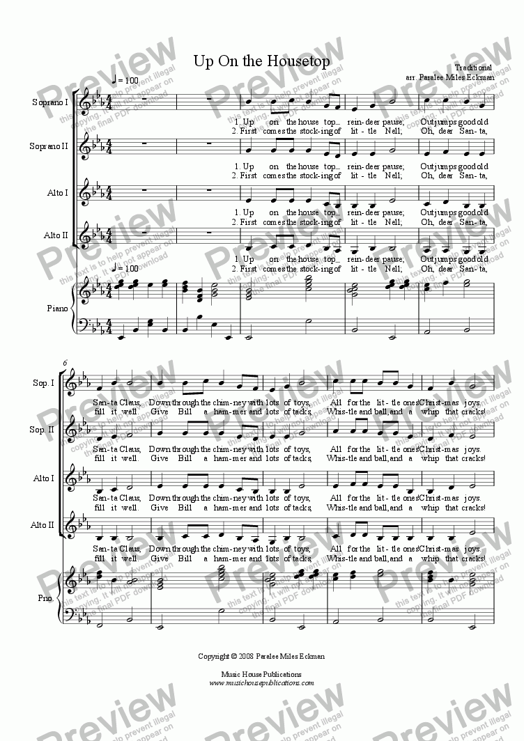 page one of Up On the Housetop (Women's Vocal Quartet)