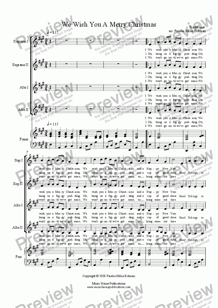 page one of We Wish You a Merry Christmas (Women's Vocal Quartet)