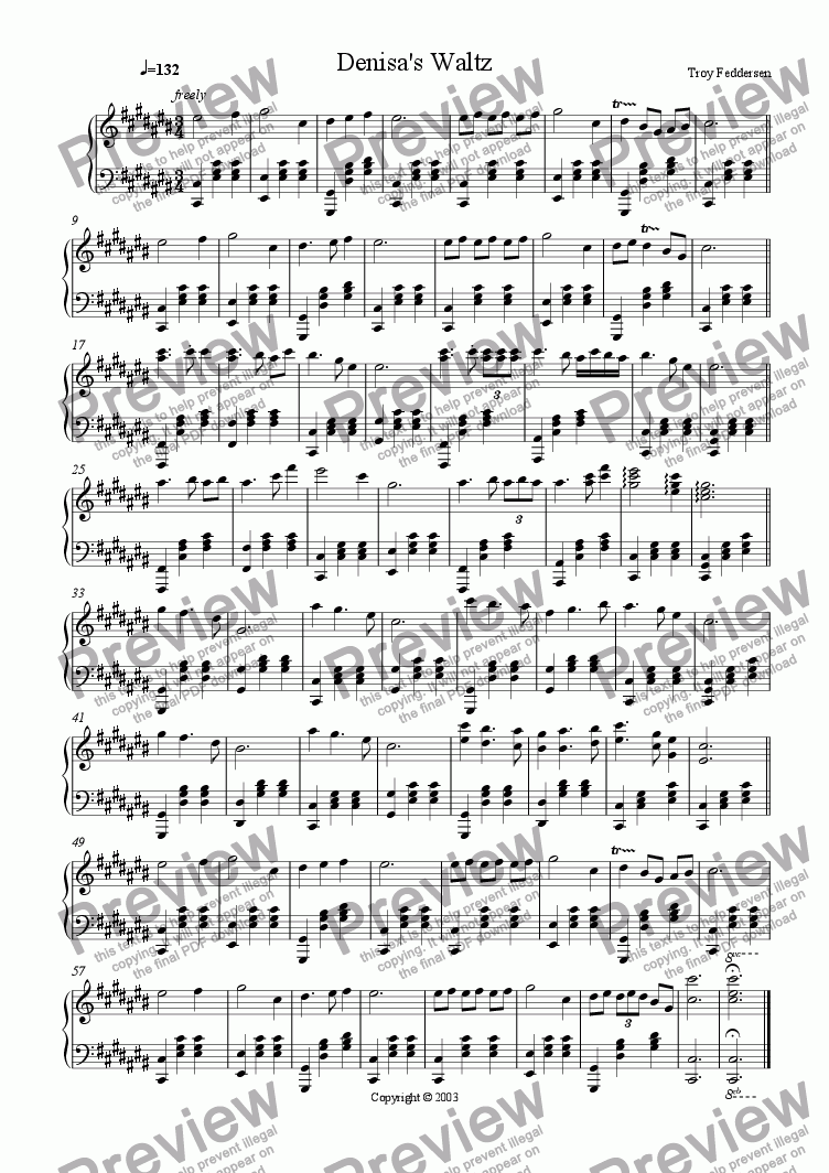 page one of Denisa's Waltz
