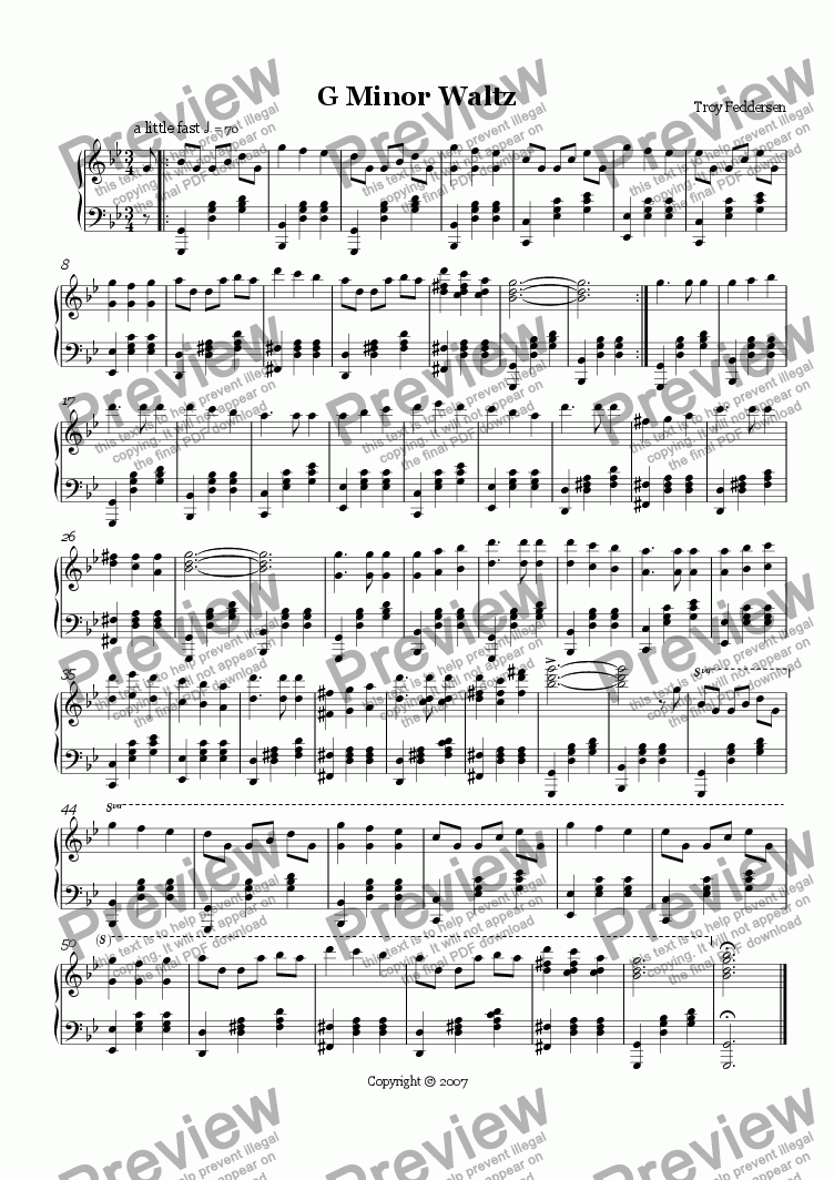 page one of G minor Waltz