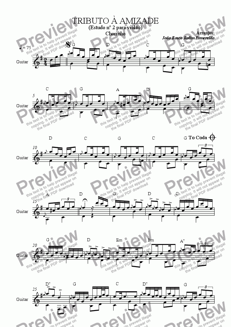 page one of Tributo a Amizade - Chorinho - Study for Guitar in G