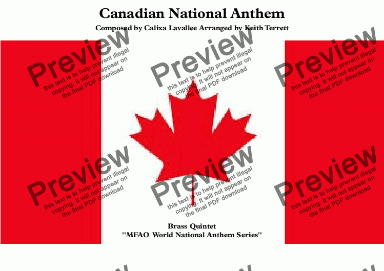page one of Canadian National Anthem (O Canada), for Brass Quintet (World National Anthem Series)