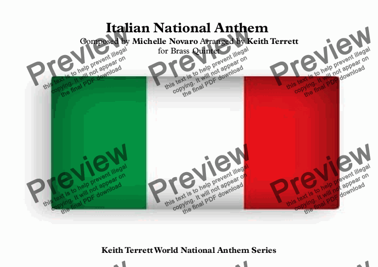 page one of Italian National Anthem (Mameli Hymn) for Brass Quintet  (World National Anthem Series)