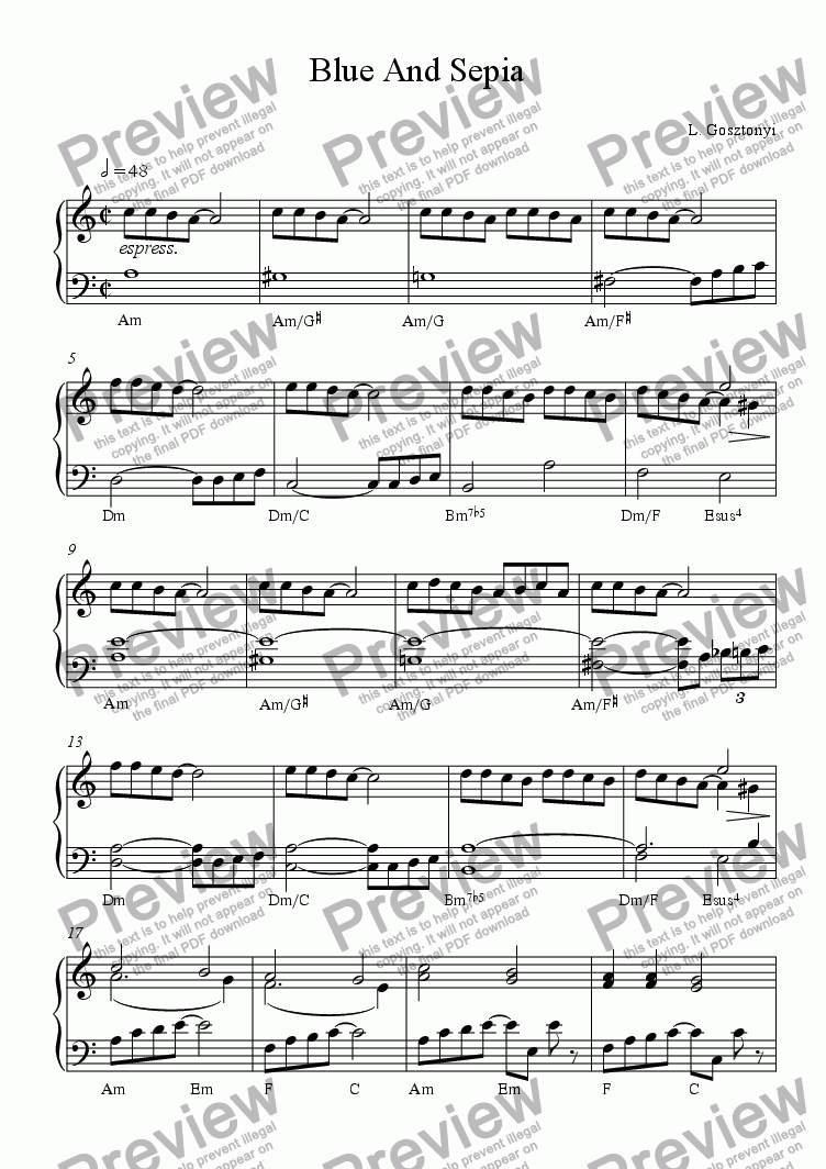 page one of Sepia Blue (Piano Solo)