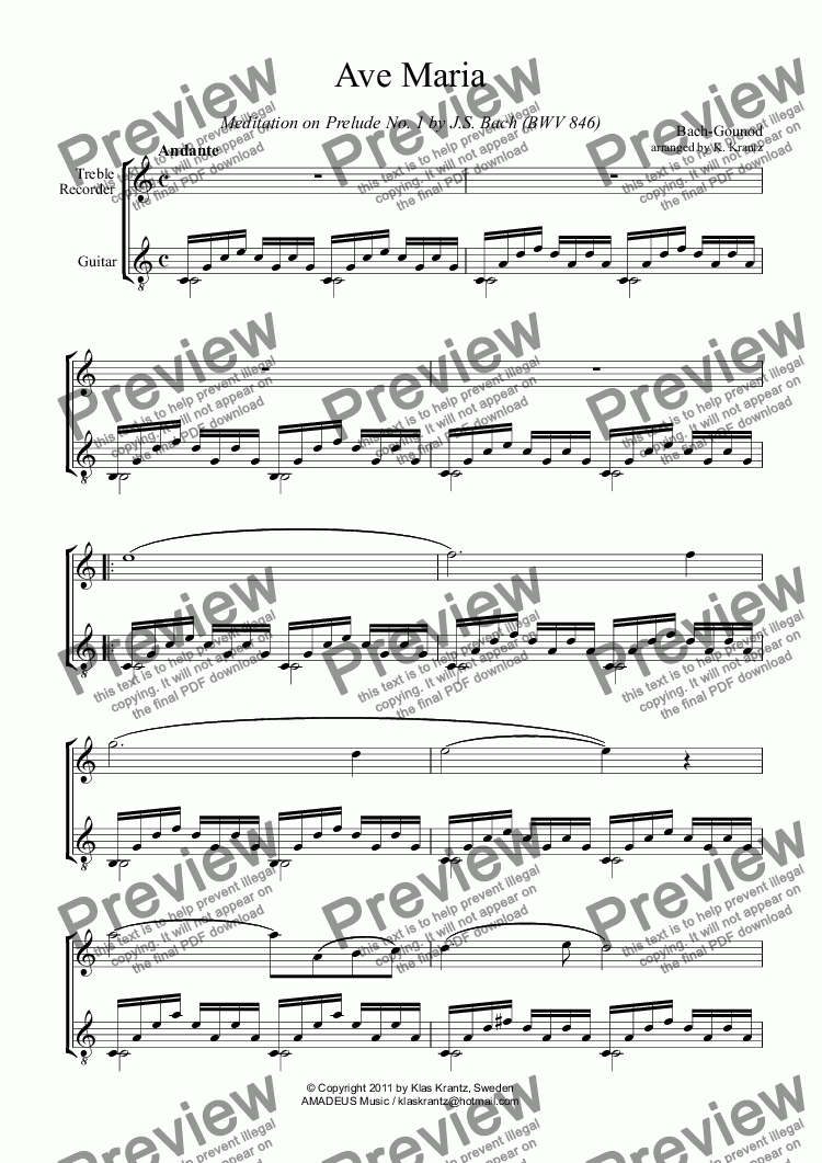 page one of Ave Maria for treble recorder and guitar (C Major)