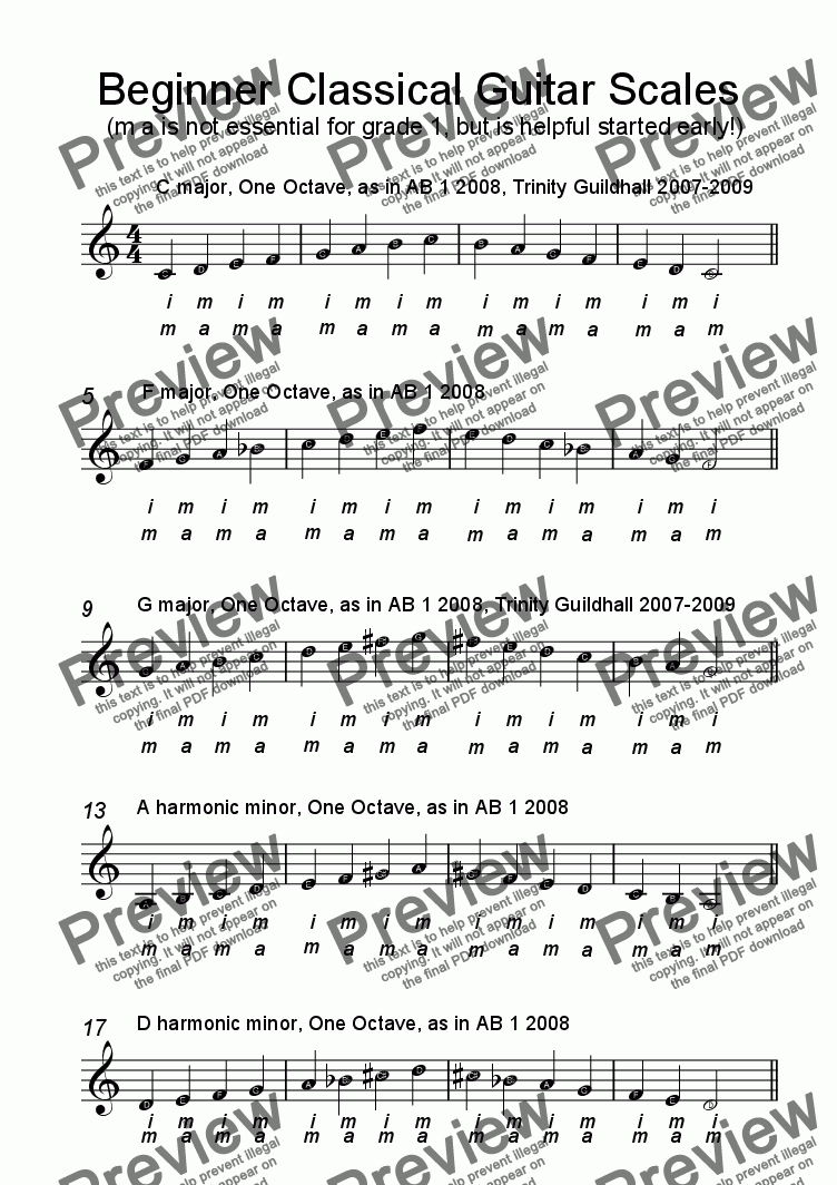 Beginner Scales for Classical Guitar for Solo instrument (Acoustic Guitar  [notation]) by trad  - Sheet Music PDF file to download