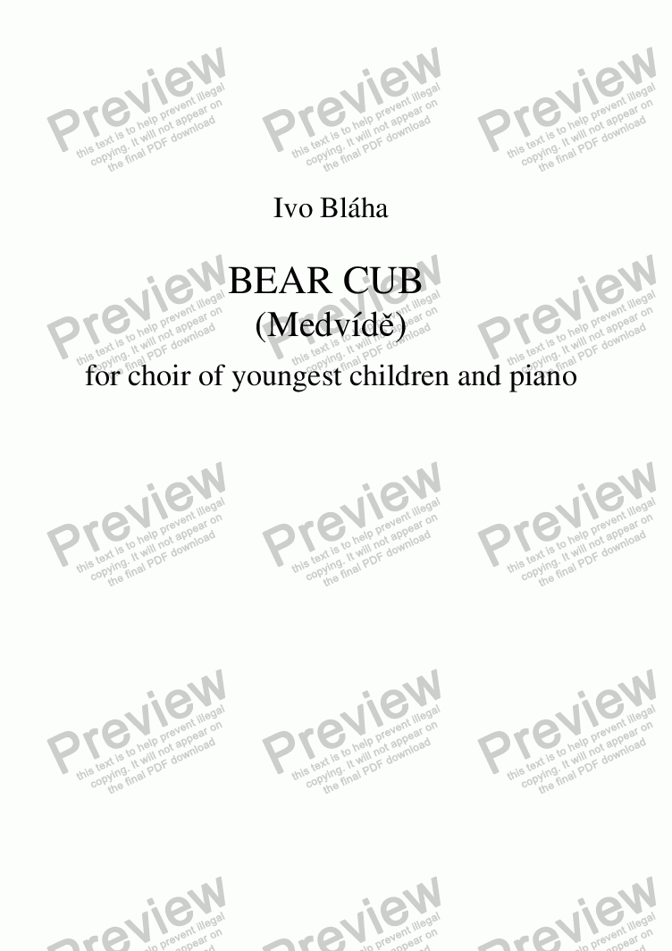 page one of BEAR CUB (Medvídě) for choir of youngest children and piano (English words)