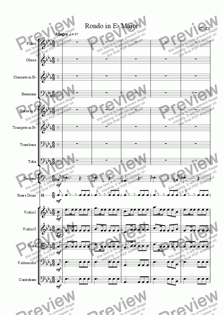 page one of Rondo in Eb Major