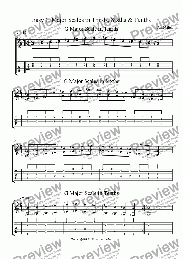 easy g major scales in thirds sixths and tenths download pdf file