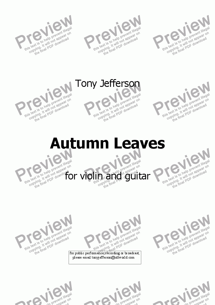 page one of Autumn Leaves
