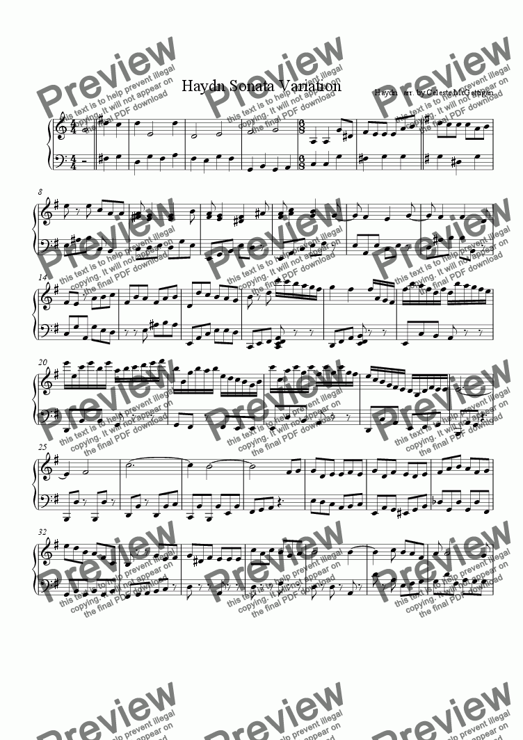 page one of Haydn Sonata Variation