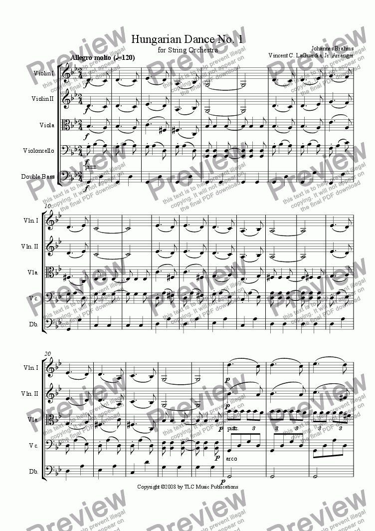 page one of Brahms Hungarian Dance No. 1 for String Orchestra