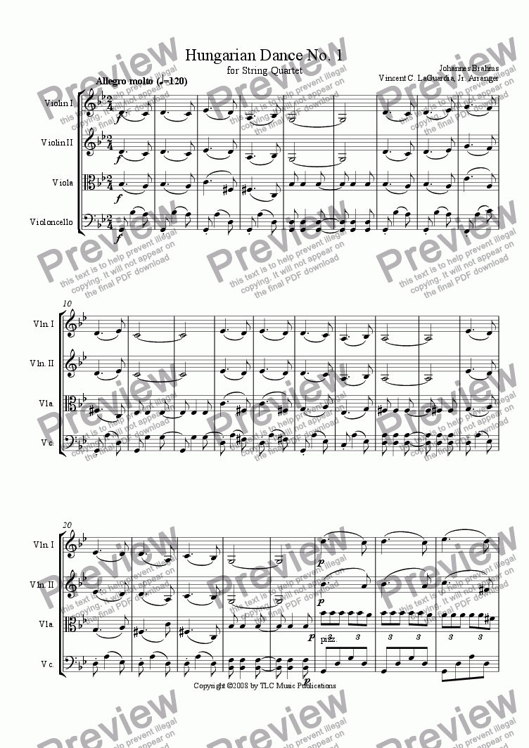 page one of Brahms Hungarian Dance No. 1 for String Quartet