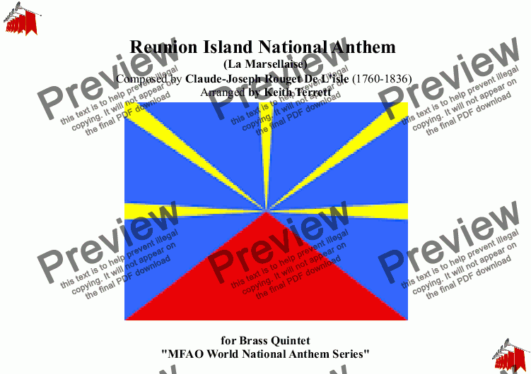 page one of Reunion Island National Anthem for Brass (MFAO World National Anthem Series)