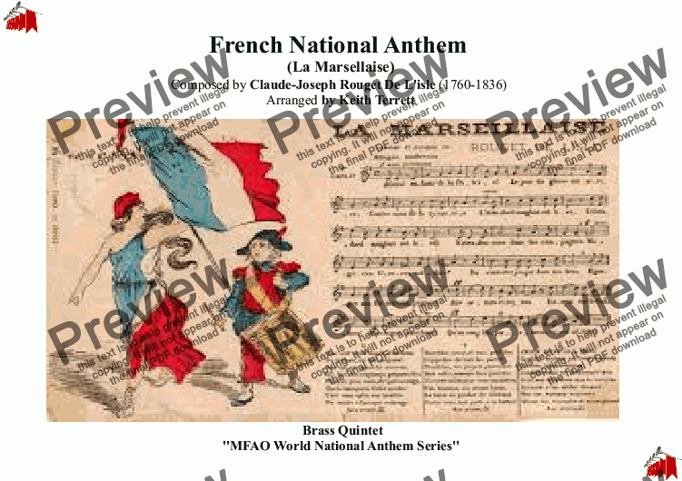 "page one of Guadeloupe National Anthem/ ""La Marseillaise"" (MFAO World National Anthem Series) for Brass Quintet"