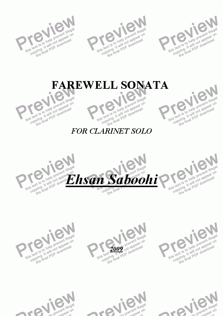 page one of FAREWELL SONATA FOR CLARINET SOLO