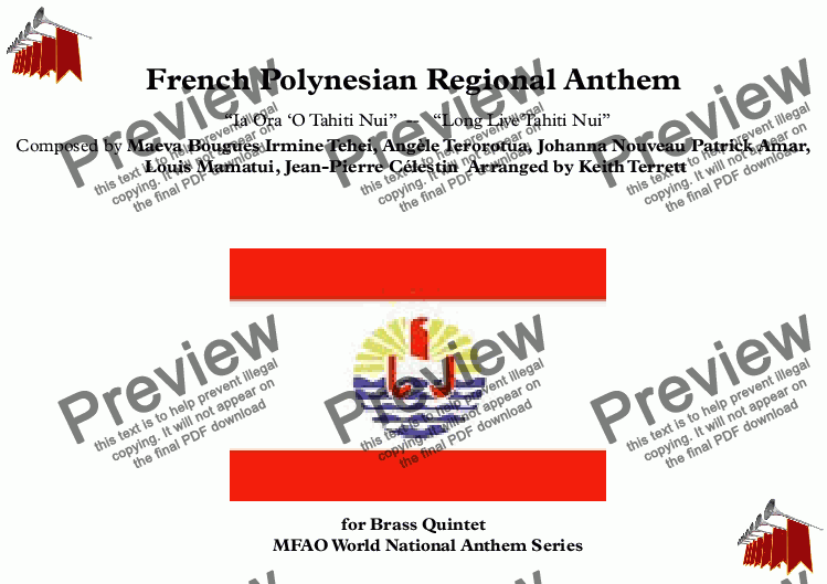page one of French Polynesian National Anthem (World National Anthem Series)