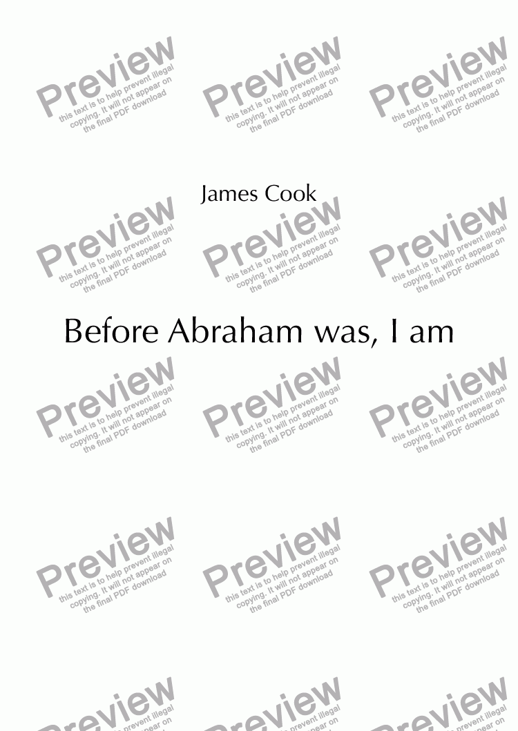 page one of Before Abraham was, I am