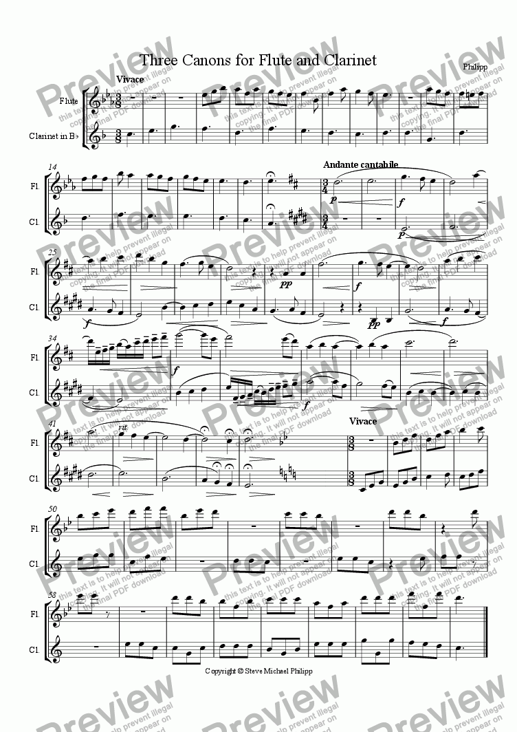page one of Three Canons for Flute and Clarinet