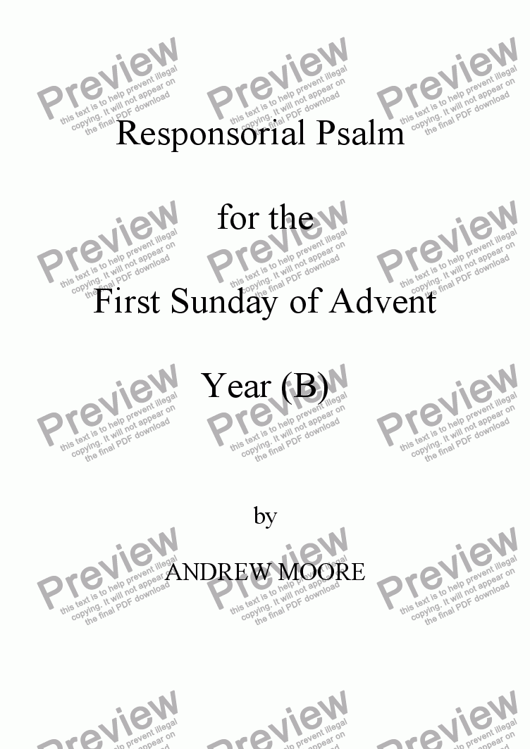 page one of First Sunday of Advent (Year B)