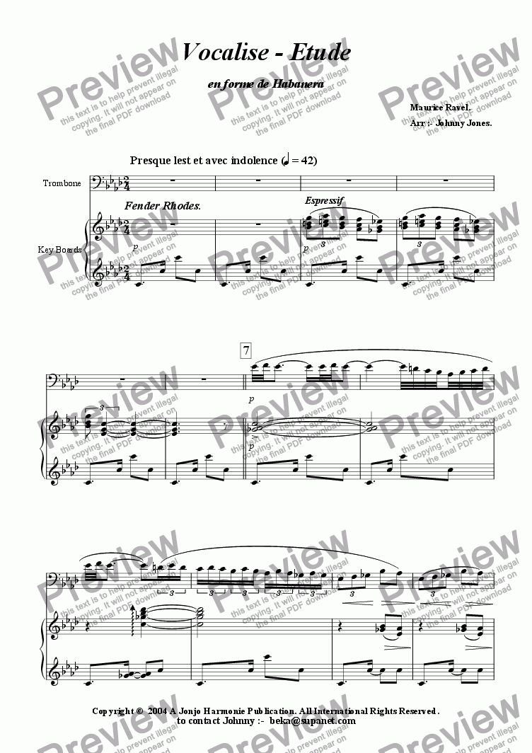 page one of Vocalise - Etude   (Trombone and Piano)