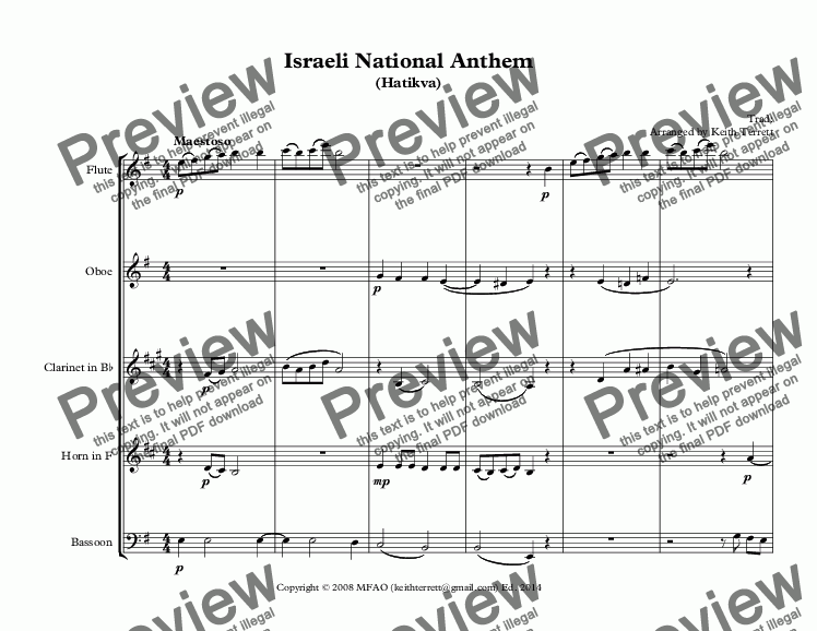page one of Israeli National Anthem (Hatikvah) for Wind Quintet (World National Anthem Series).