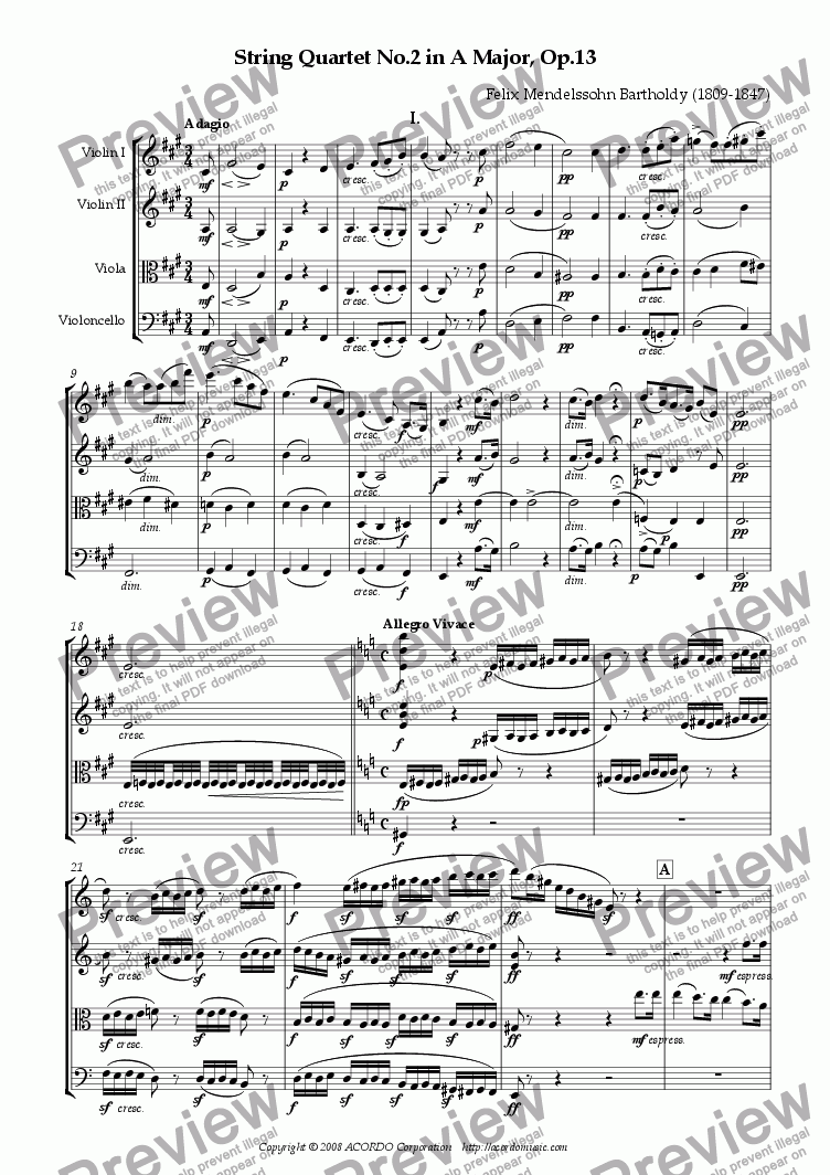 page one of String Quartet No.2 in A major Op.13