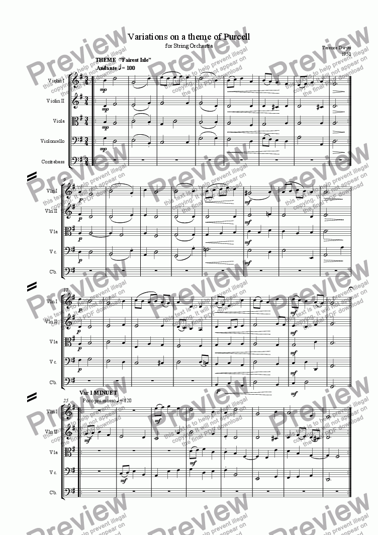 page one of Variations on a theme of Purcell
