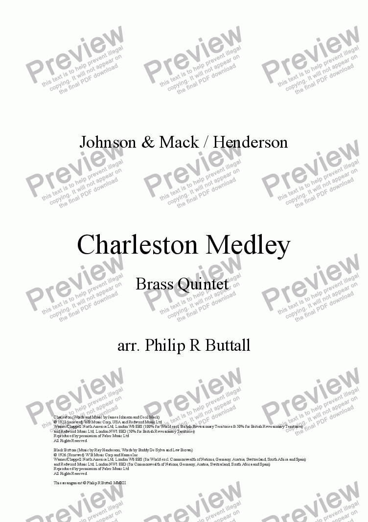 page one of Charleston Medley (Brass Quintet)