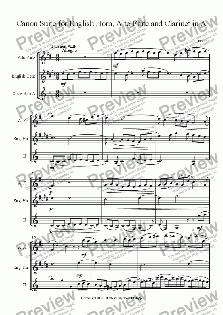 page one of Canon Suite for English Horn, Alto Flute and Clarinet in A - The $25, 000 suite