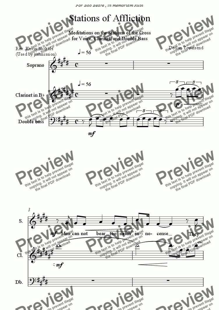 page one of STATIONS OF AFFLICTION for Voice, Clarinet, and Double Bass