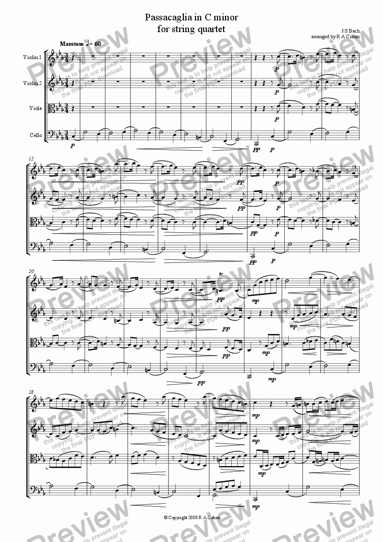 page one of Bach - PASSACAGLIA in C Minor - for string quartet