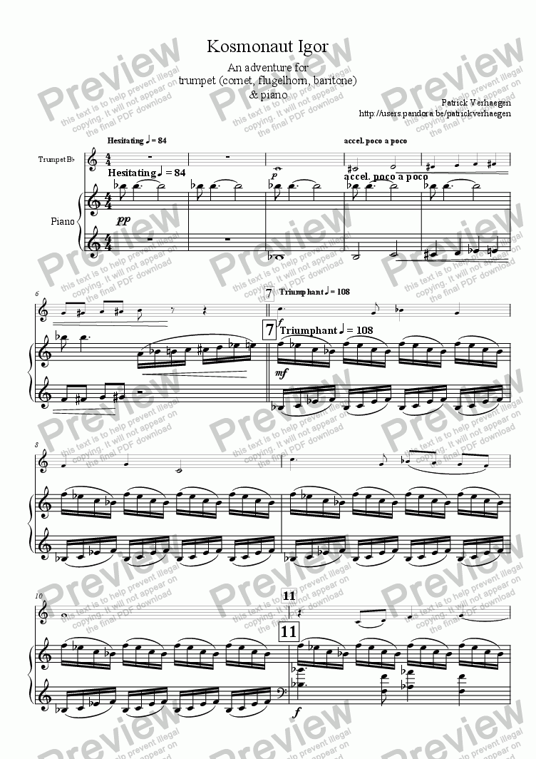 page one of Kosmonaut Igor (for trumpet & piano)