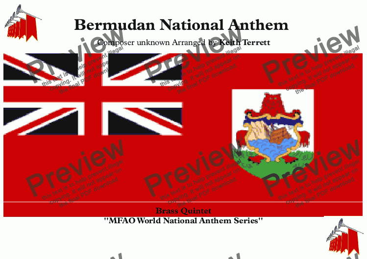 page one of Bermudan National Anthem for Brass Quintet (MFAO World National Anthem Series)
