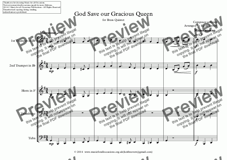 page one of Turks & Caicos National Anthem for Brass Quintet (World National Anthem Series)