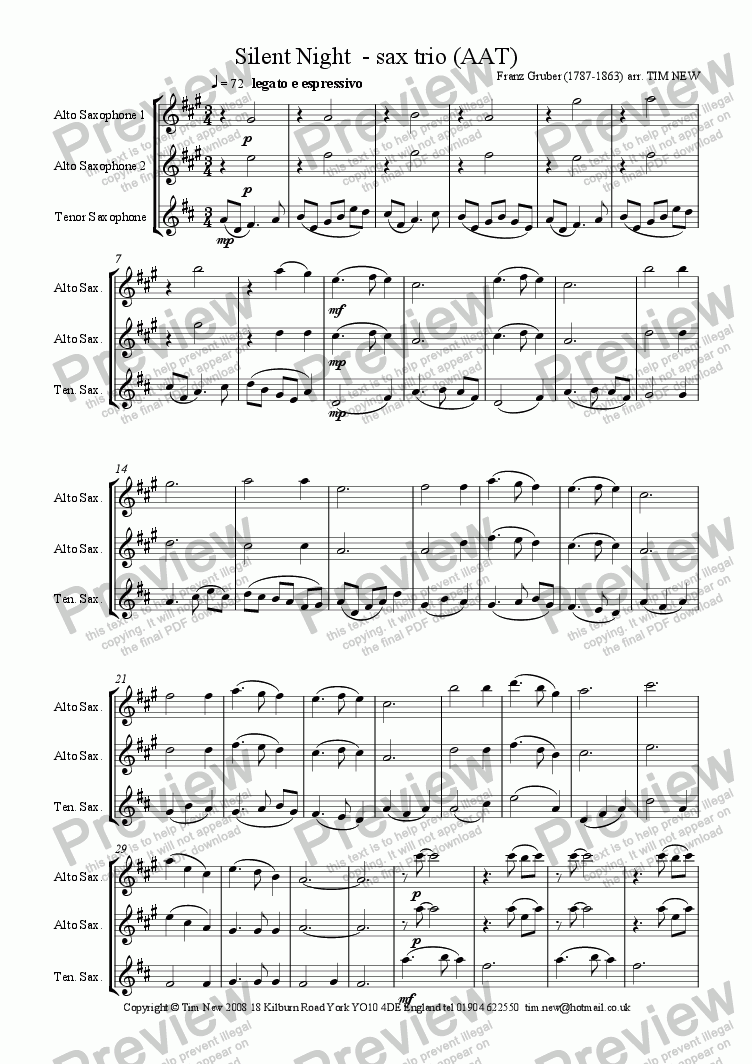 page one of Silent Night - sax trio (AAT)