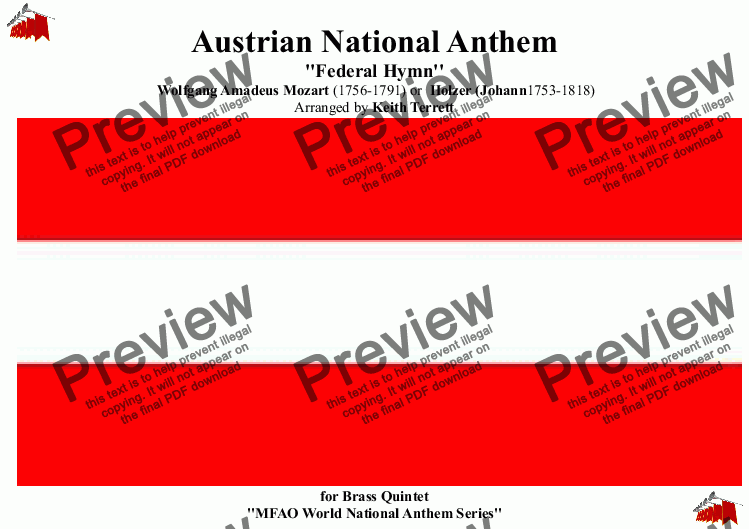 page one of Austrian National Anthem (Land der Berge, Land am Strome) for Brass Quintet ''MFAO World National Anthem Series''