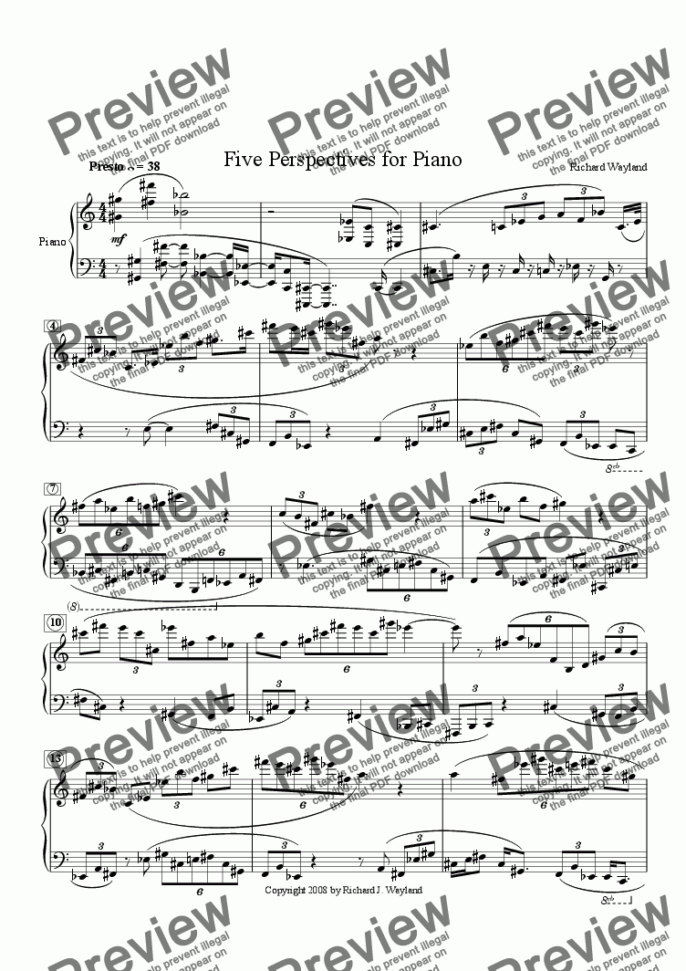 page one of Five Perspectives for Piano