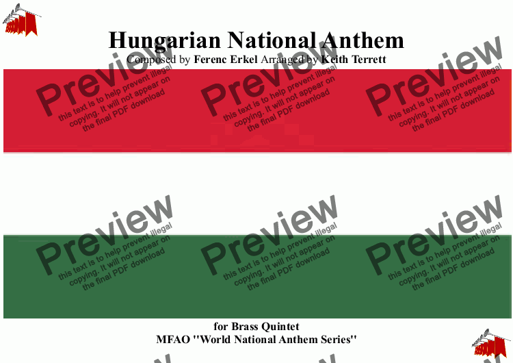 page one of Hungarian National Anthem (Himnusz) for Brass Quintet (World National Anthem Series)