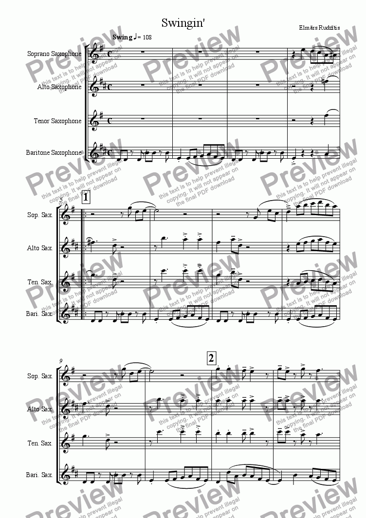 page one of Swingin (For Sax Quartet)