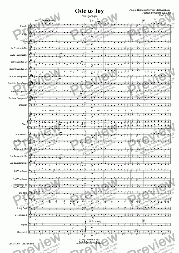 page one of Ode to Joy (Song of Joy) - Concert Band