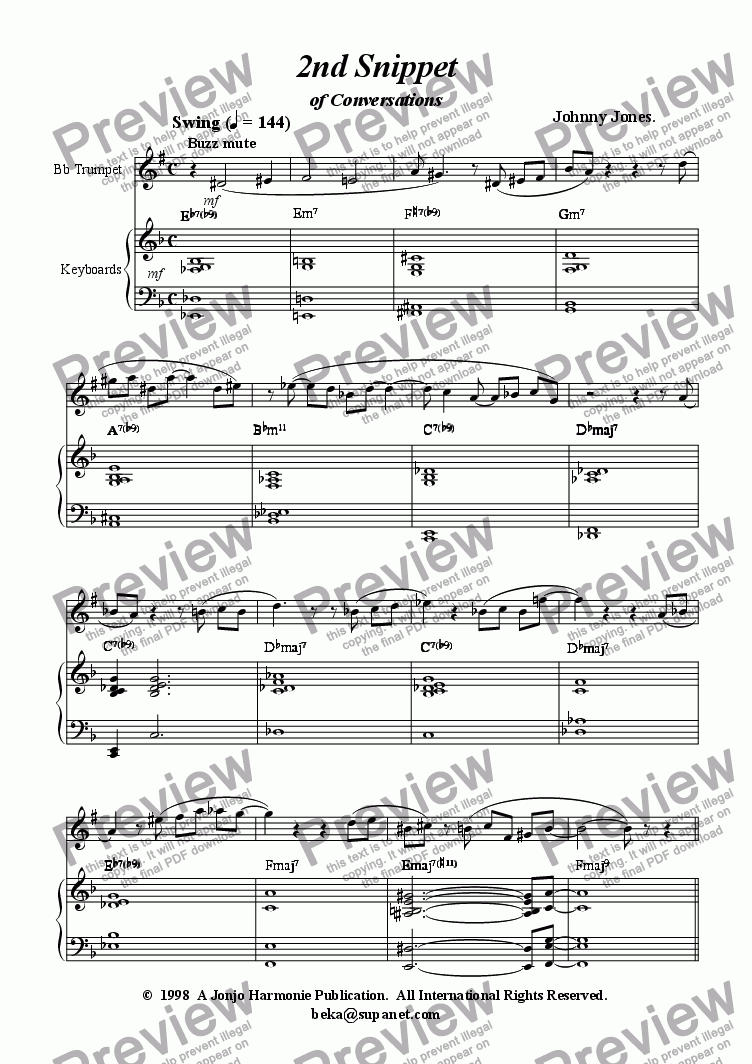 page one of 2nd Snippet of Conversations   (Jazz Etude Trumpet and Piano)ASALTTEXT