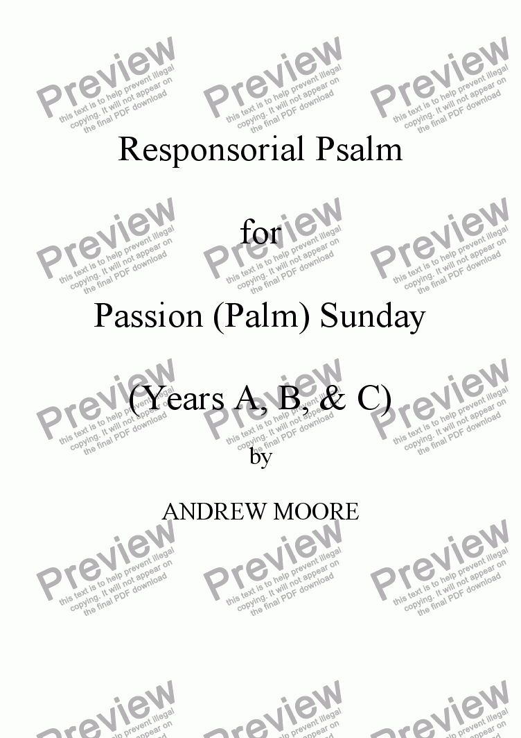 page one of Passion / Palm Sunday  (Year B)